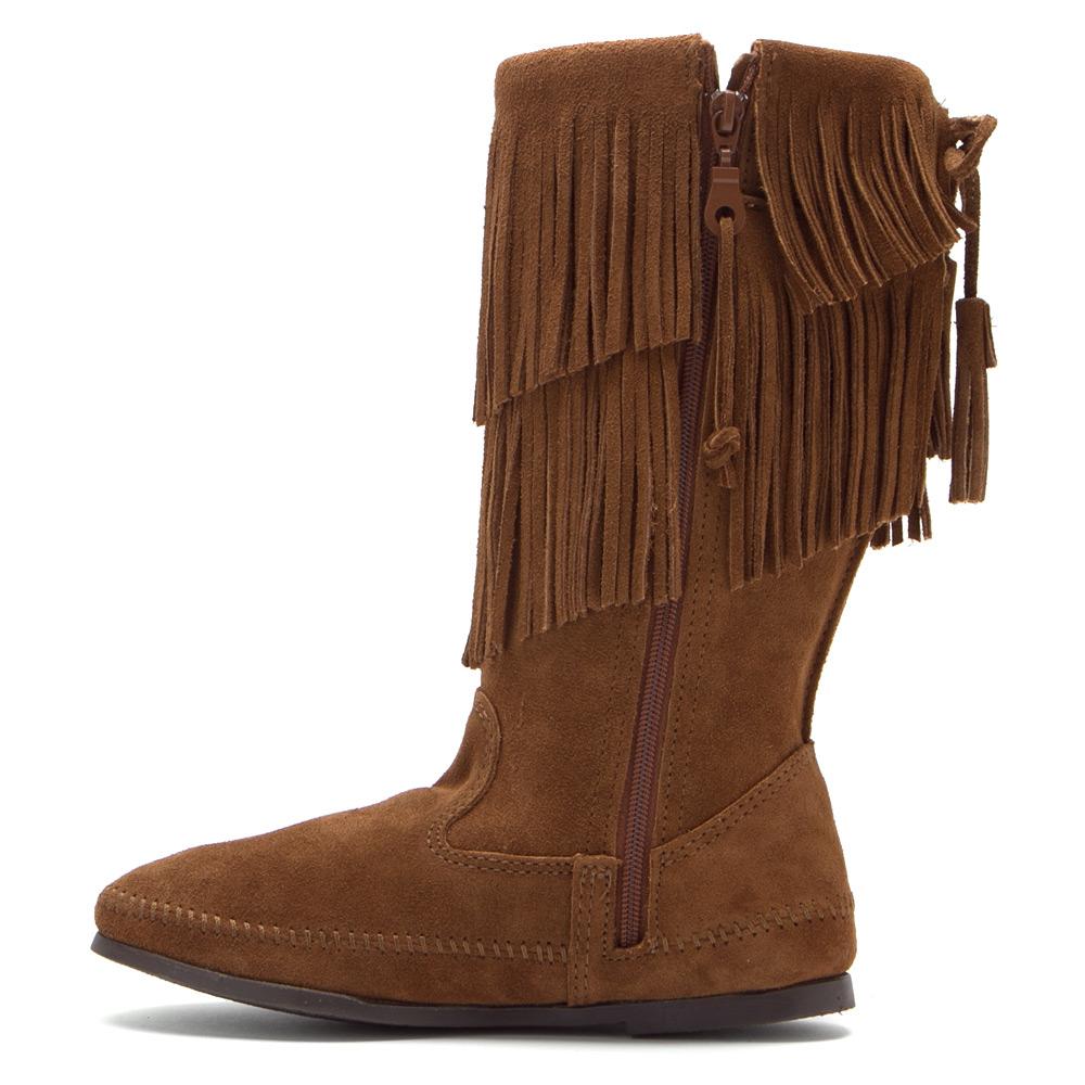 minnetonka calf hi 2 layer fringe boot in brown lyst
