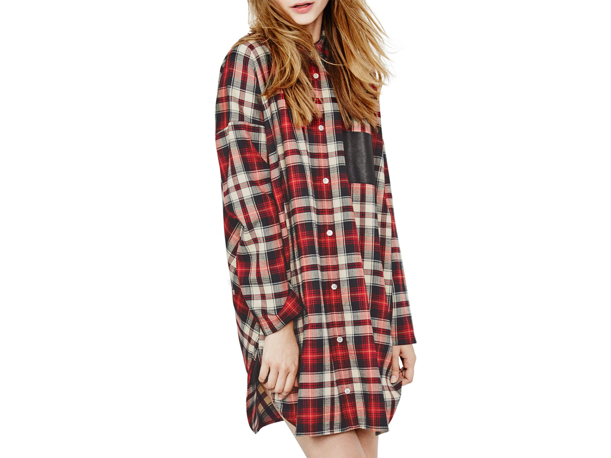Lyst maje grungy plaid shirt dress in red for Red plaid dress shirt