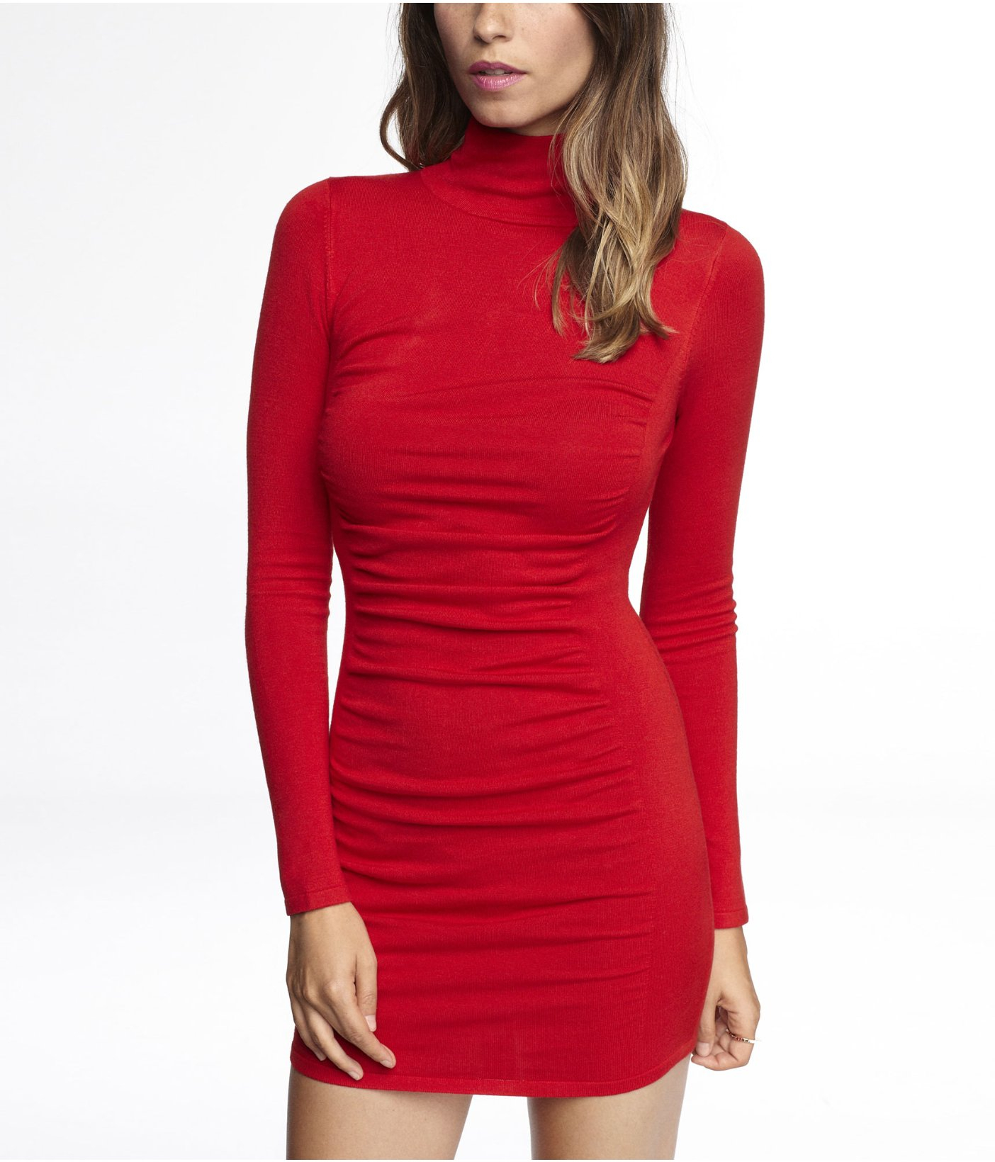 Express Mock Neck Ruched Sweater Dress in Red   Lyst