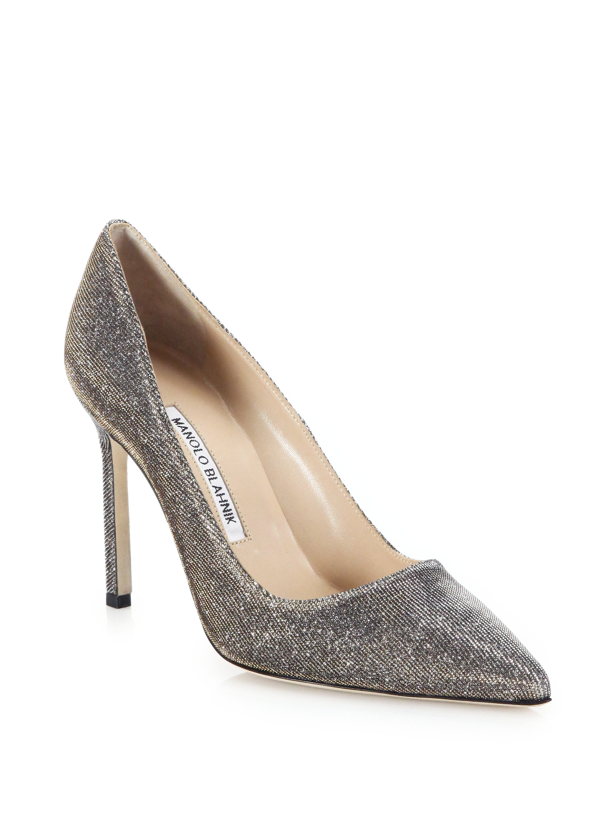Lyst manolo blahnik bb 105 nottorno mesh pumps in white for Who is manolo blahnik