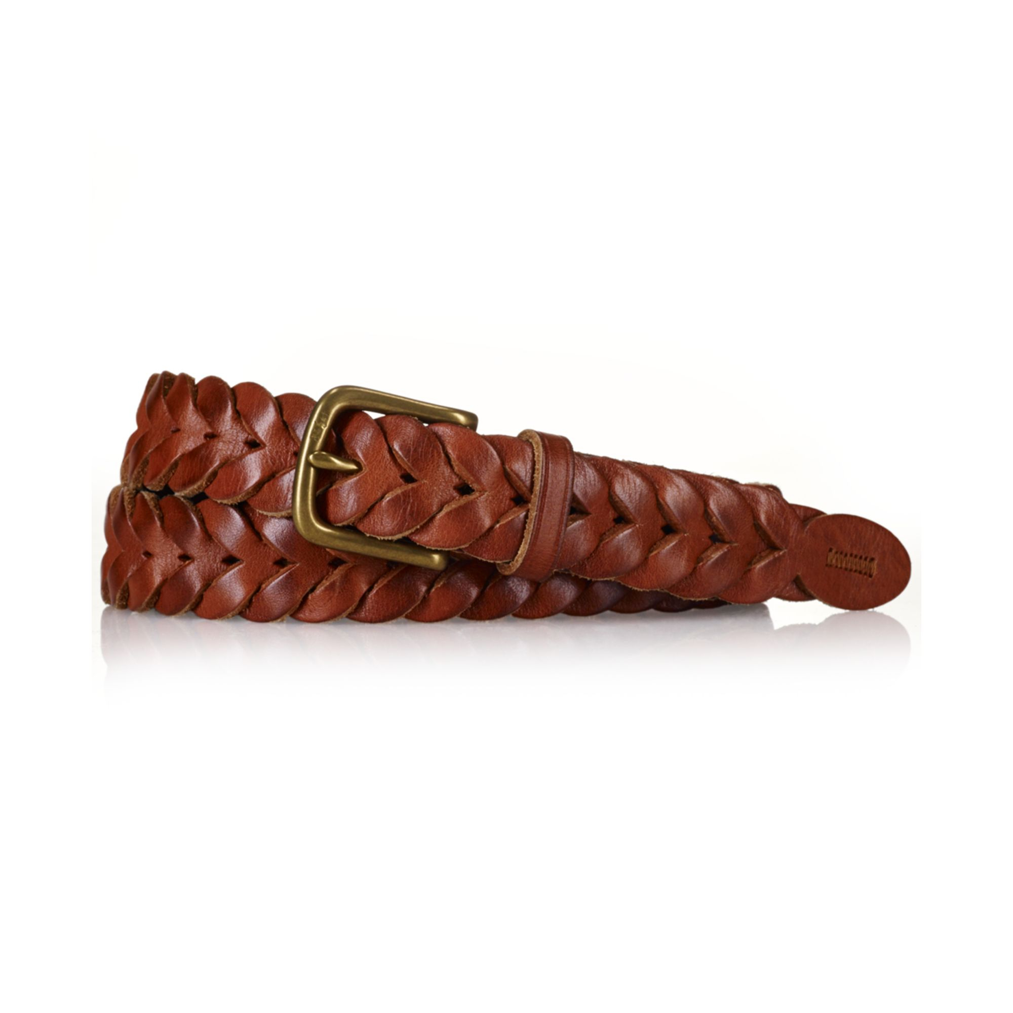 ralph polo braided leather belt in brown for lyst