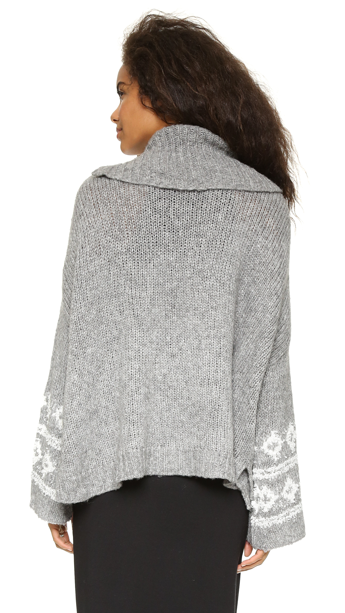 Free people Fair Isle Split Neck Sweater - Charcoal/ivory in Gray ...