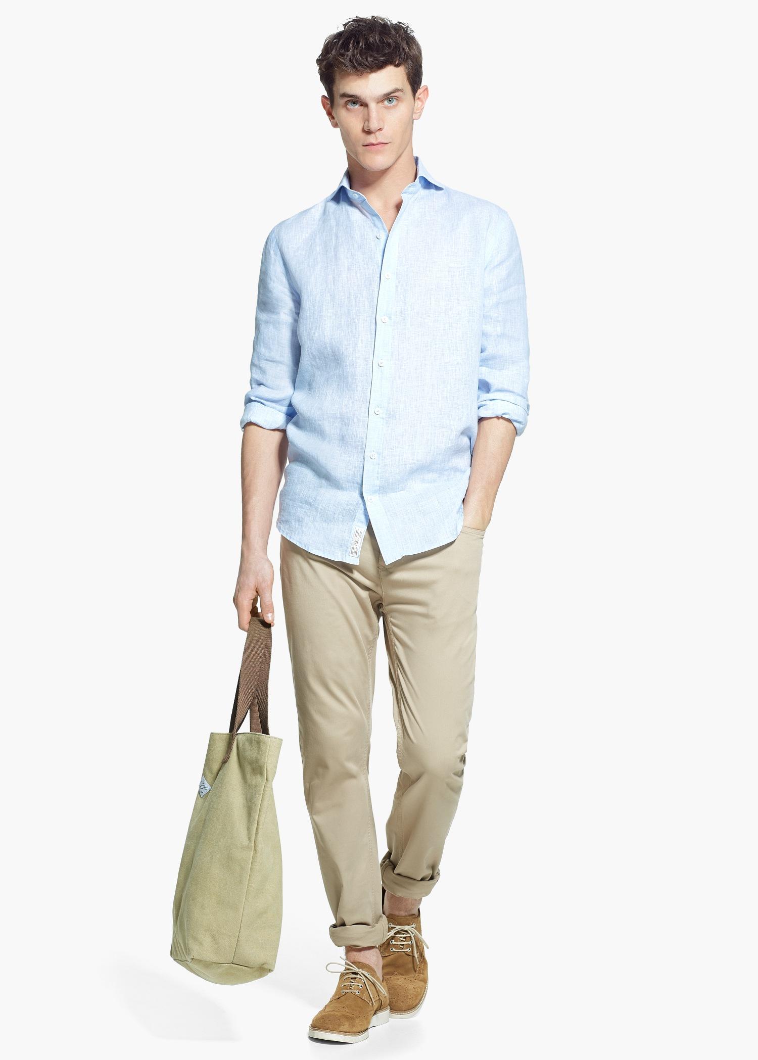 4968576976aa Mango Slim-Fit Linen Shirt in Blue for Men - Lyst