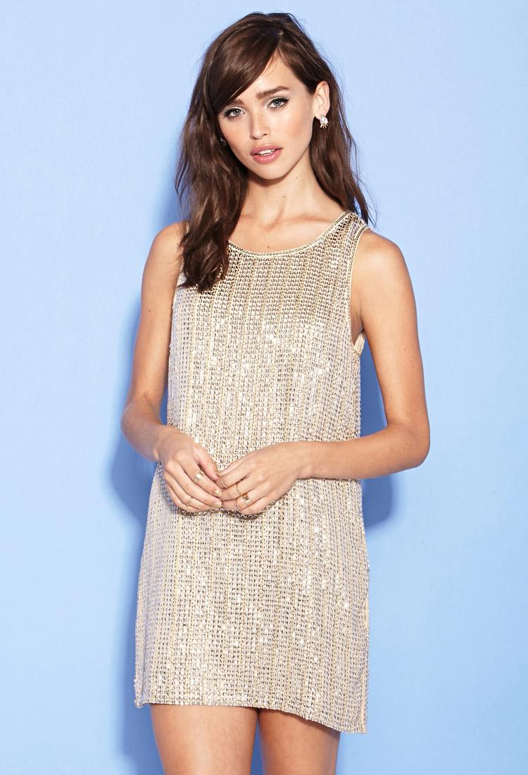 Lyst Forever 21 Sequin Shift Dress In Metallic