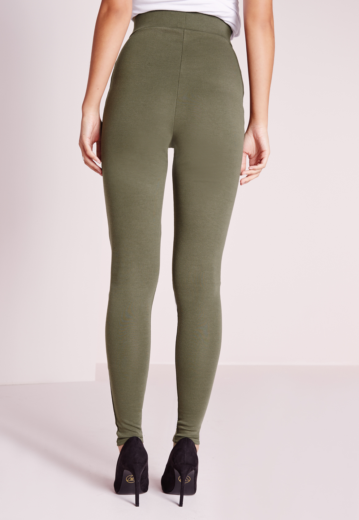 Missguided Tall Ripped Knee Leggings Khaki in Natural