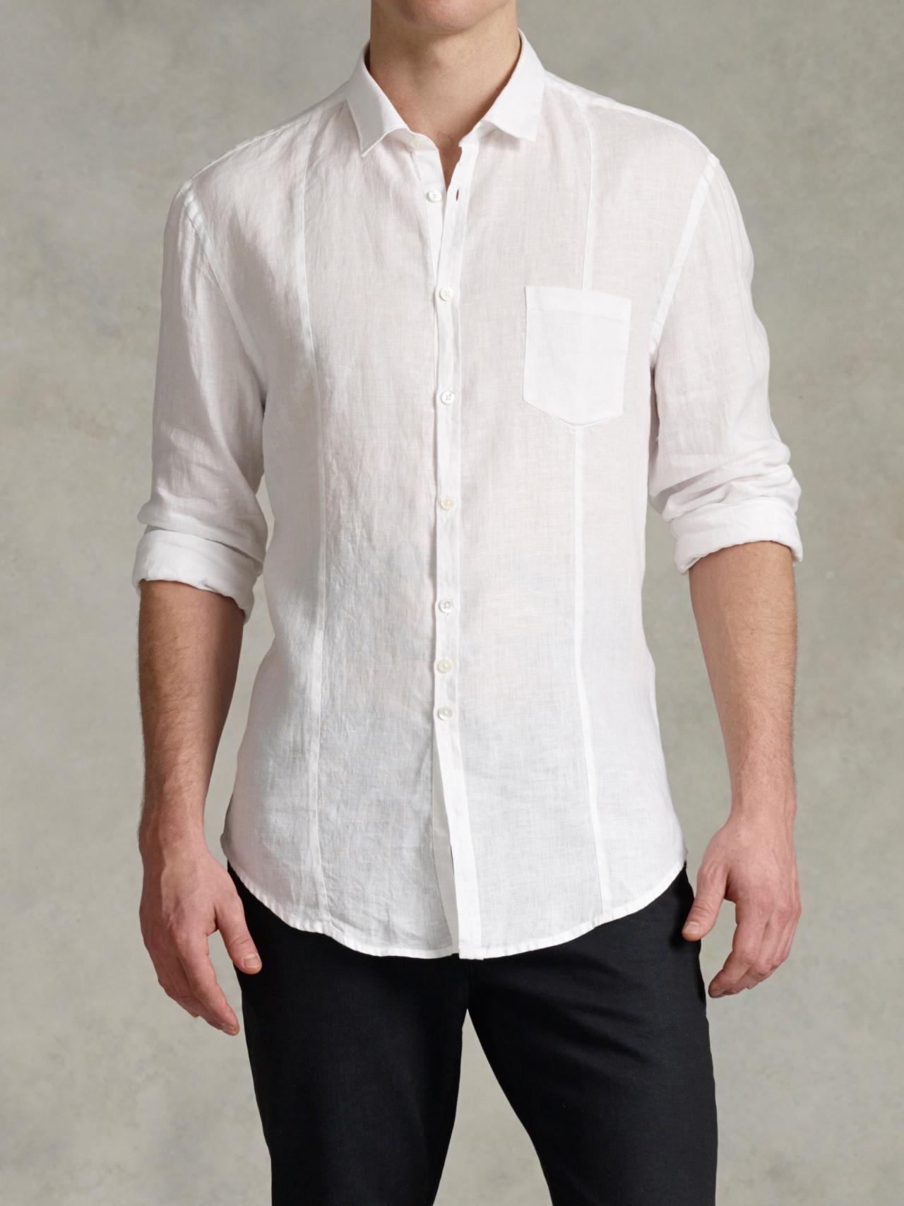 902a3aef58ea Slim Fit Mens White Linen Shirt - BCD Tofu House