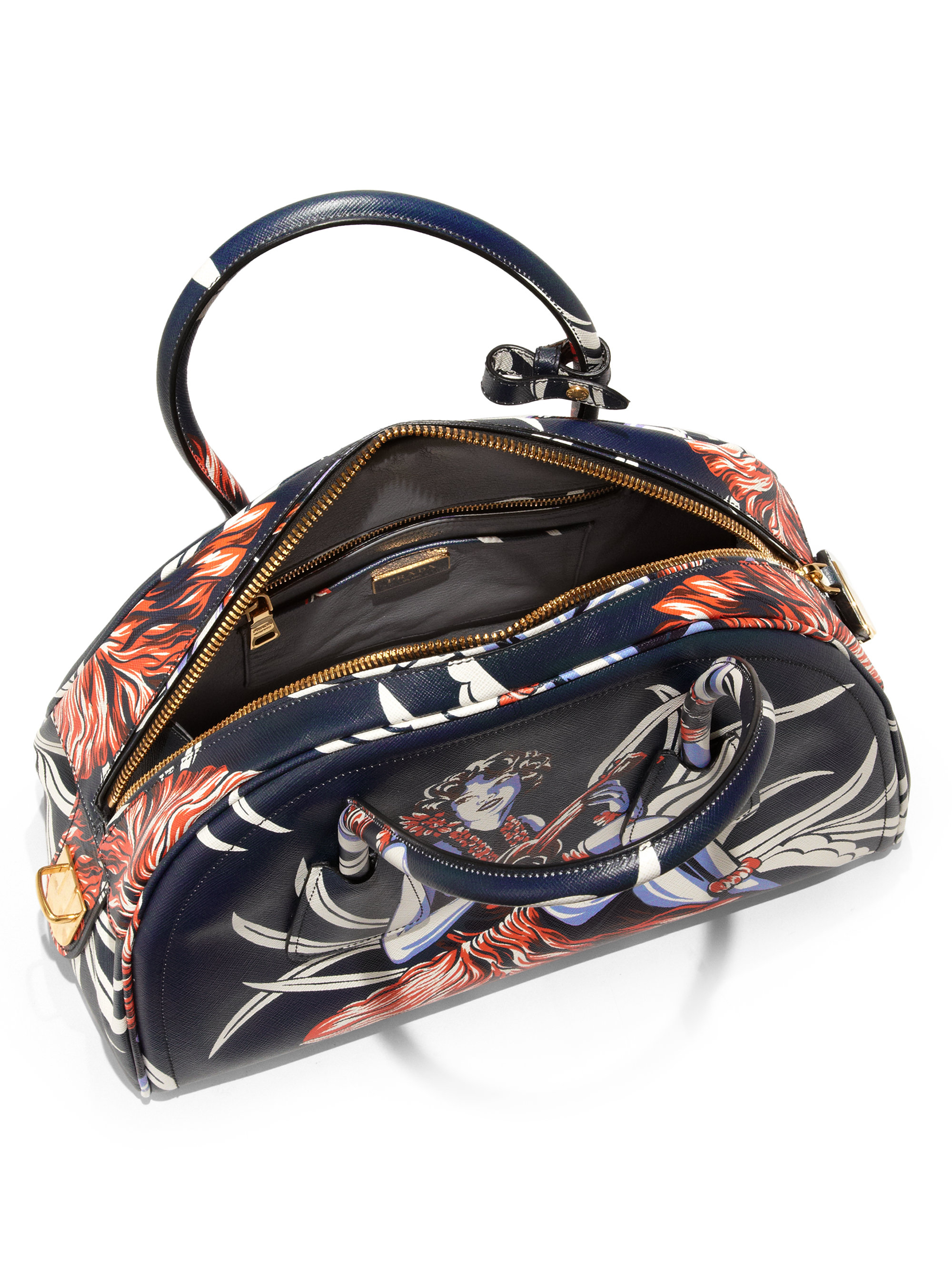 Prada Printed Saffiano Leather Bowler Bag in Blue (TEAL MULTI) | Lyst