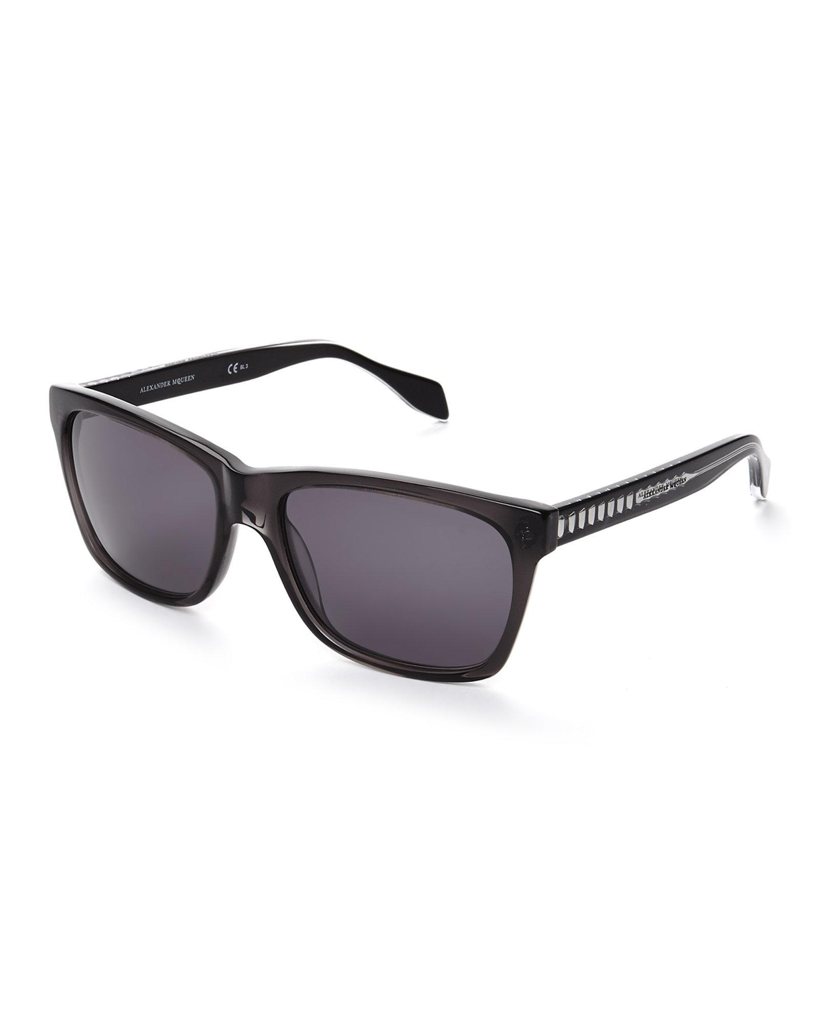 696ab9b079 Lyst - Alexander McQueen Black Amq 4253 Wayfarer Sunglasses in Black