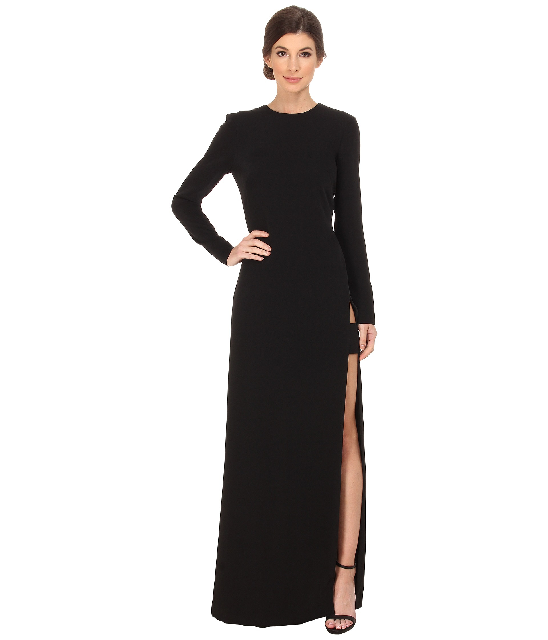 f0b66235880 JILL Jill Stuart Long Sleeve High Side Slit Gown in Black - Lyst