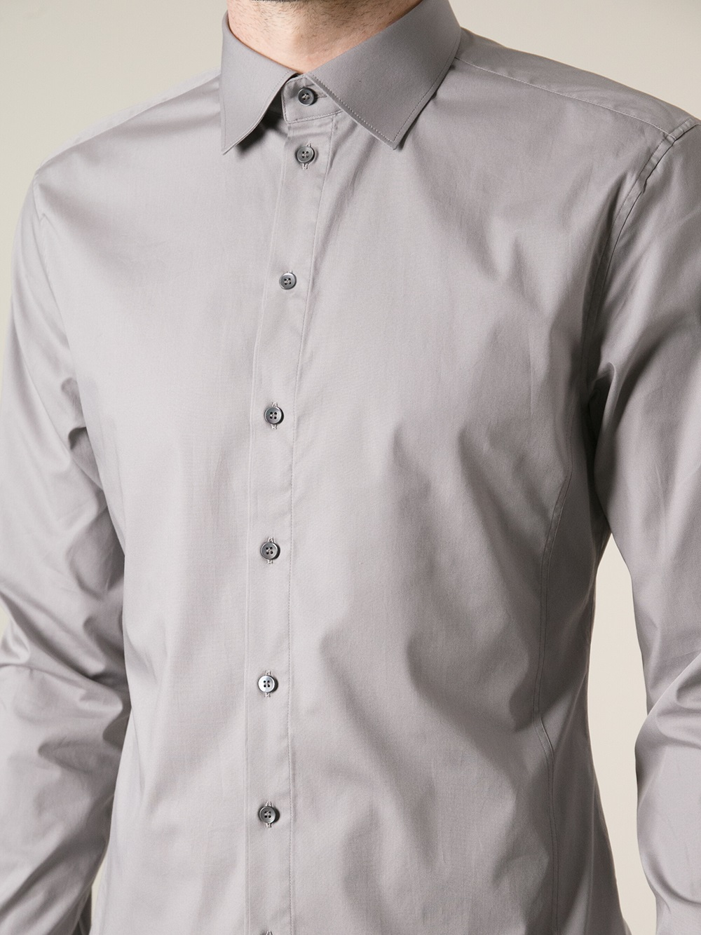 dolce gabbana button down shirt in gray for men lyst