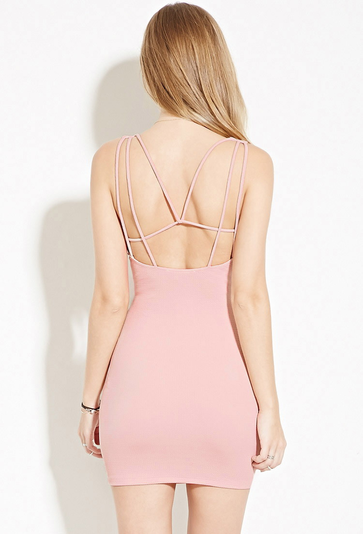 Forever 21 Strappy-back Bodycon Mini Dress in Pink | Lyst - photo #19