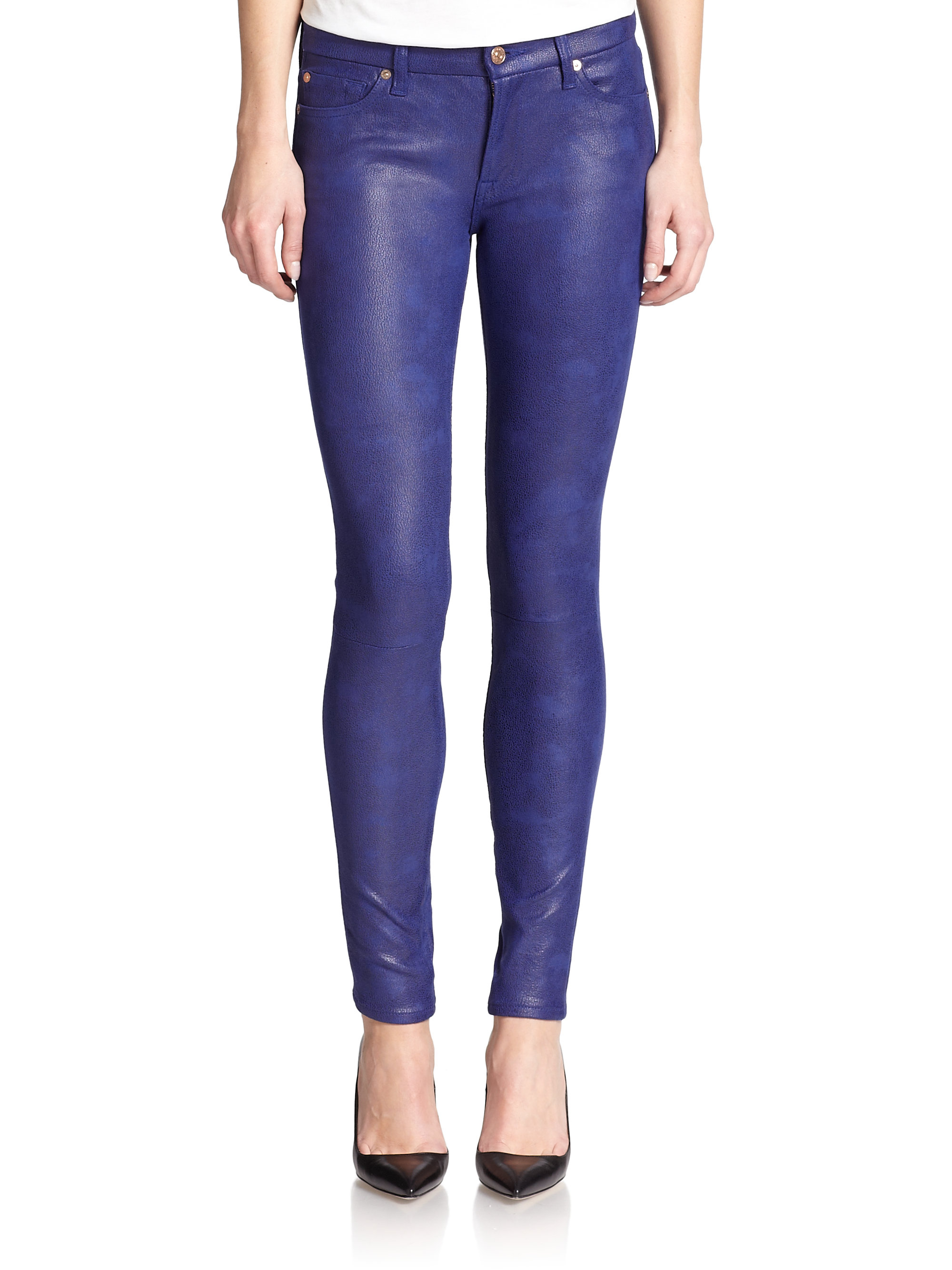 7 for all mankind Crackle Coated Skinny Jeans in Blue | Lyst