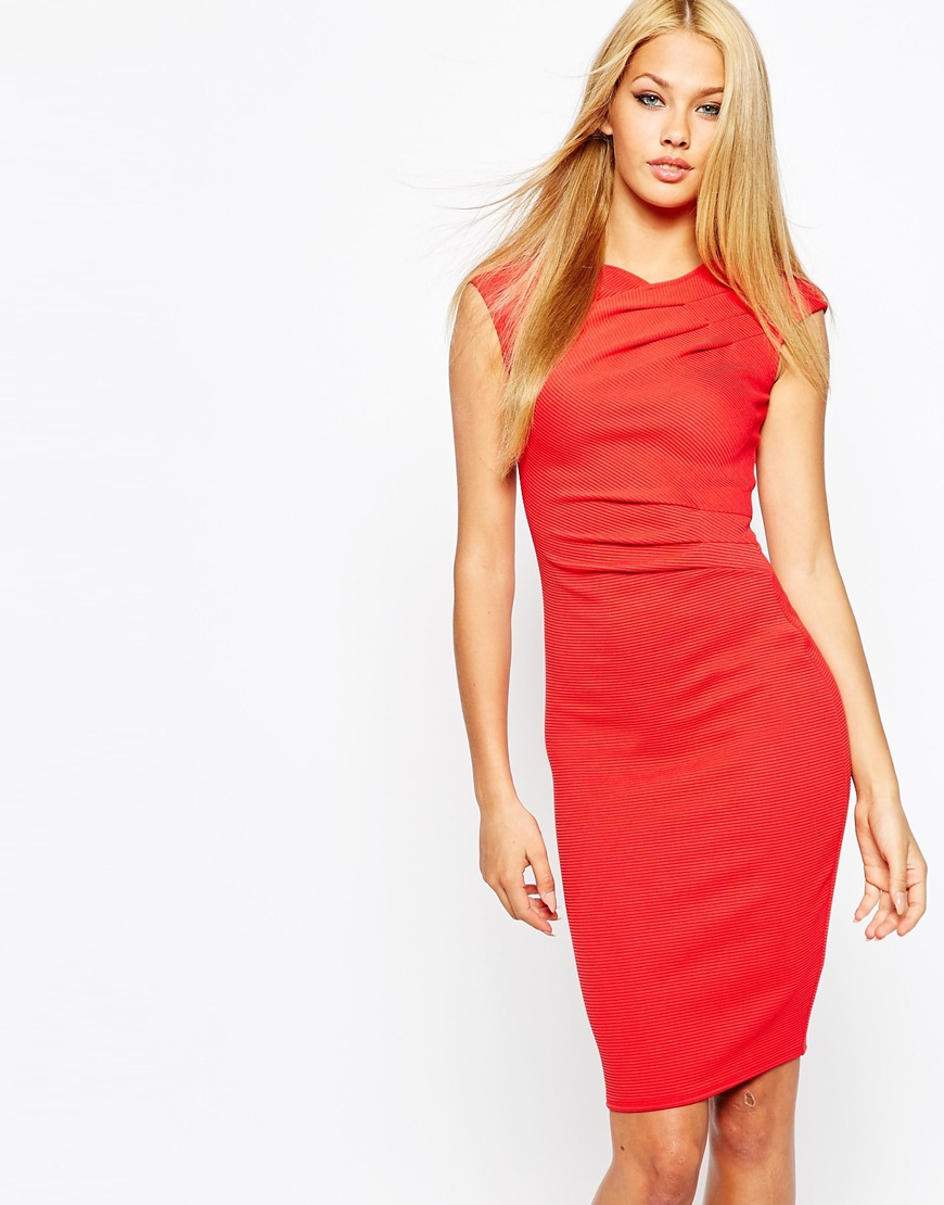 c2bc732a1924 Lipsy Textured Ripple Wrap Bodycon Dress in Red - Lyst