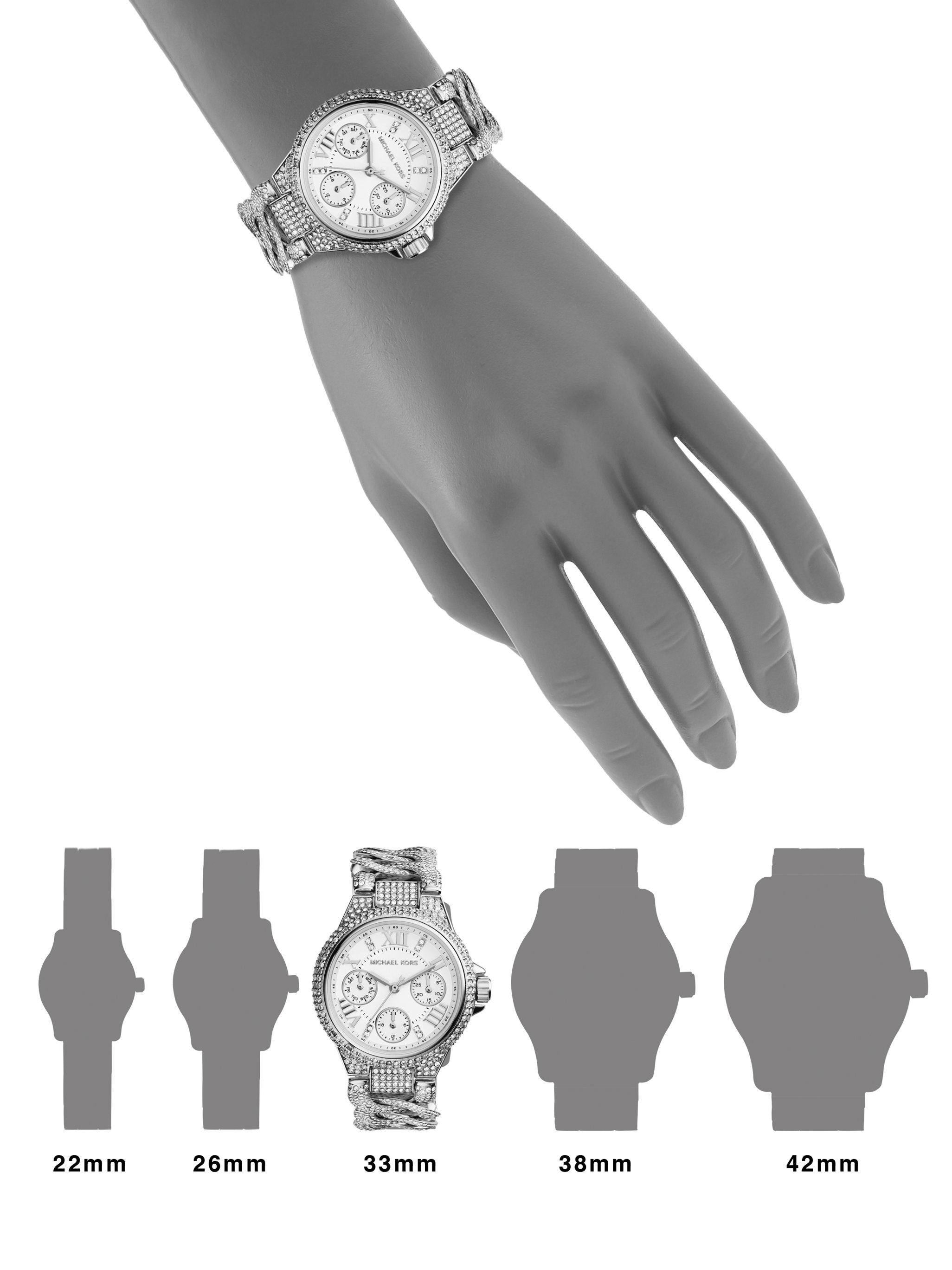 e40649933609 Michael Kors - Metallic Mini Camille Pave Stainless Steel Chronograph Bracelet  Watch - Lyst