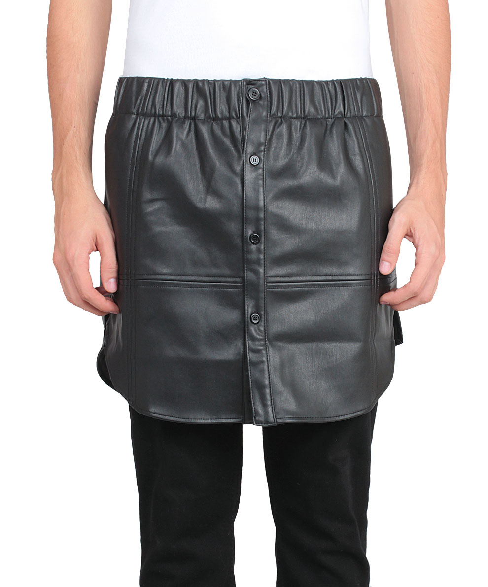 general idea black eco leather skirt with buttons for