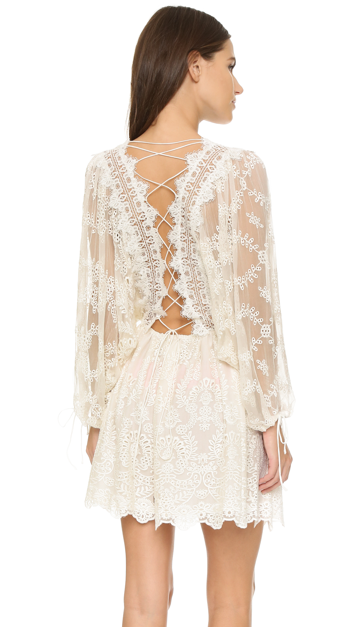 Zimmermann alchemy twine embroidery dress in white ivory