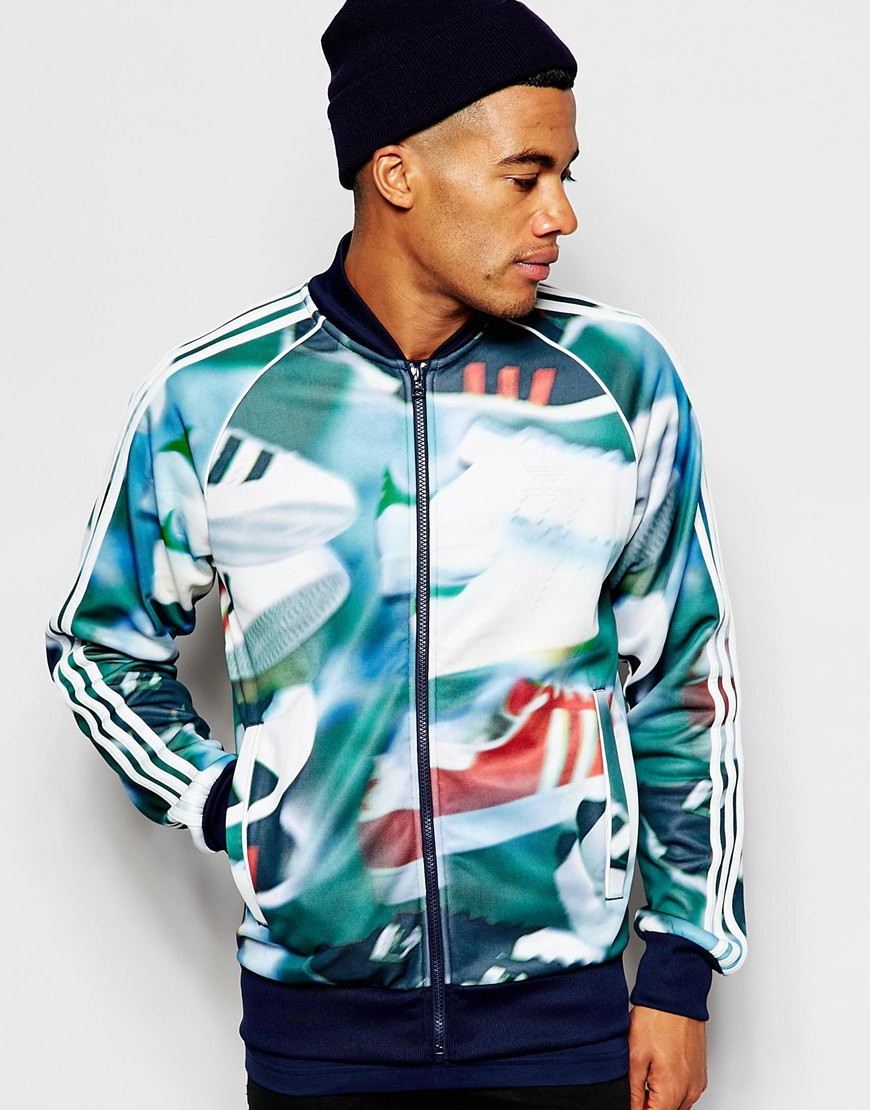 26c2f7b8fc315 adidas Originals Track Jacket In Chaos Print in Green for Men - Lyst