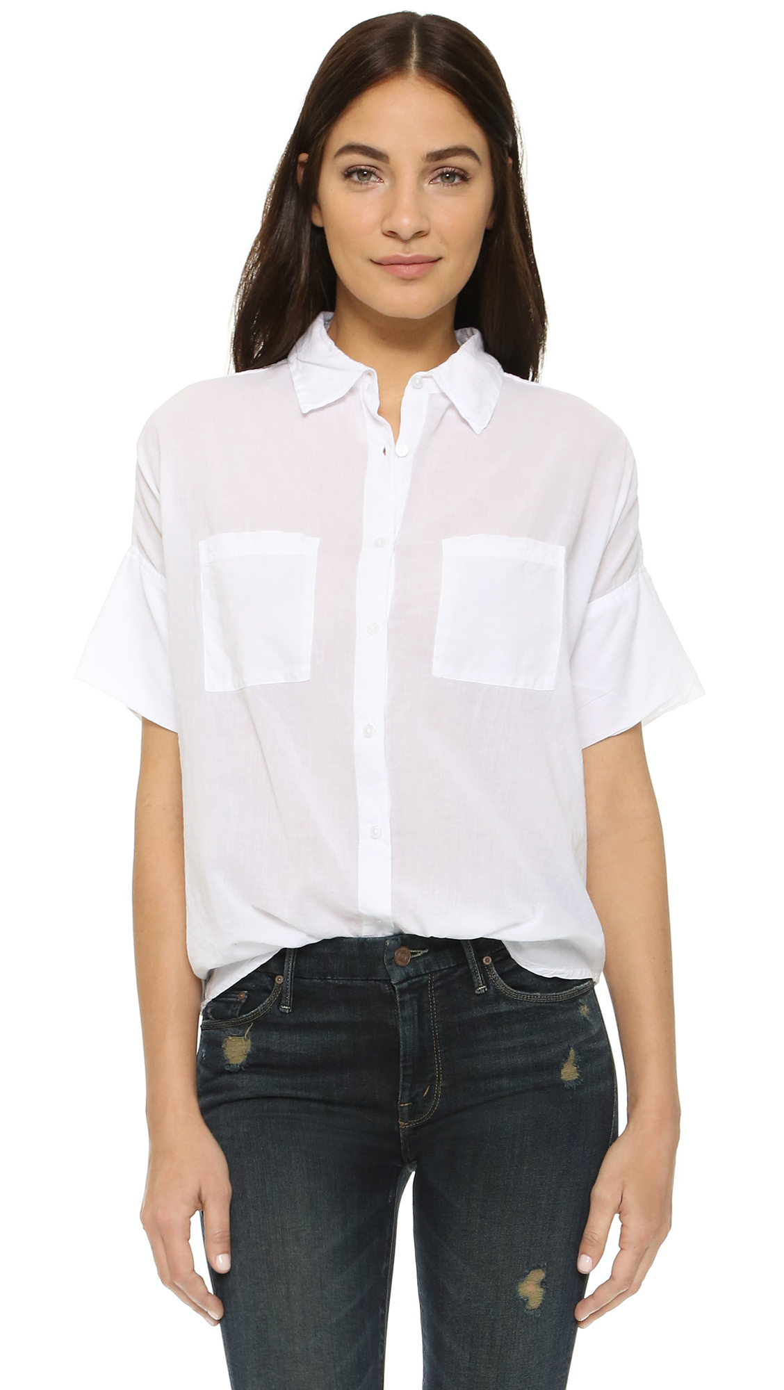 Sundry Short Sleeve Blouse in White | Lyst