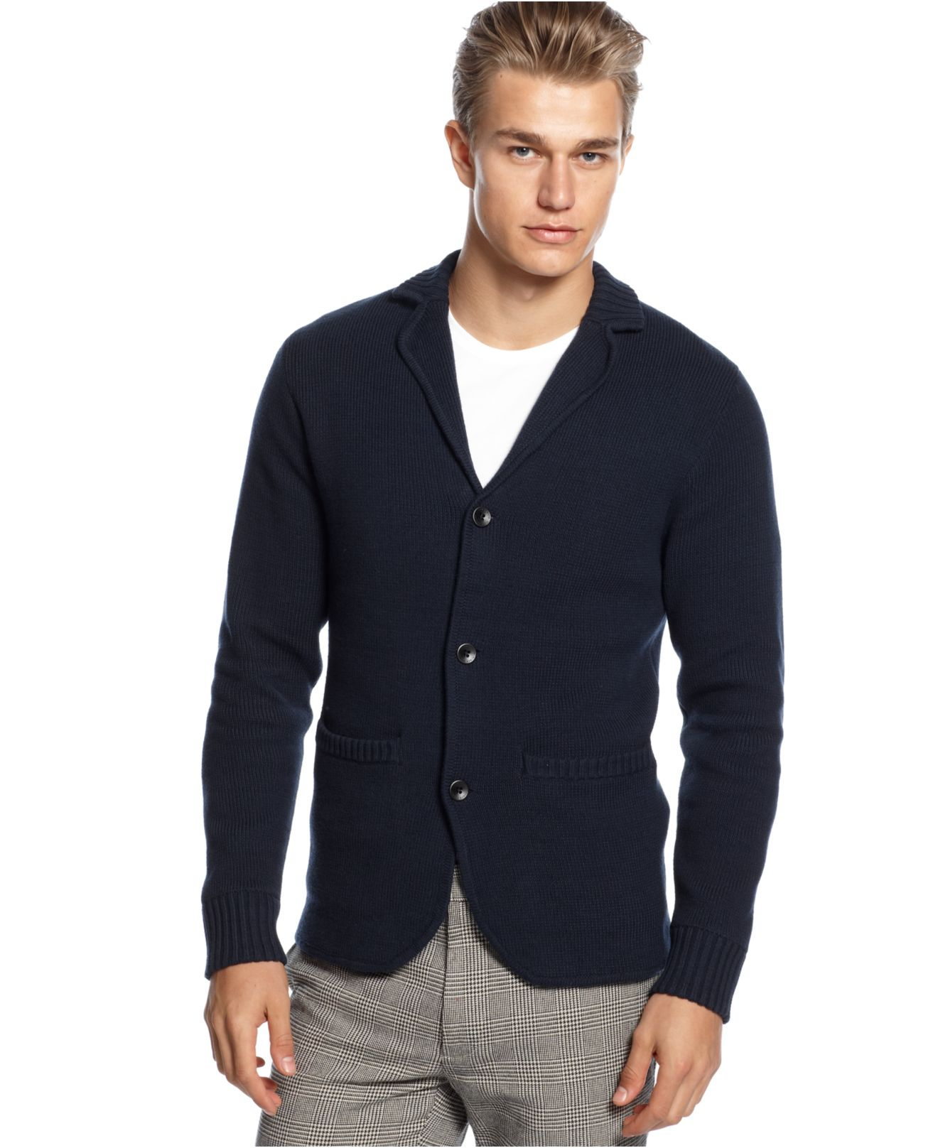 Vince camuto Slim-Fit Button-Down Blazer Cardigan Sweater in Blue ...