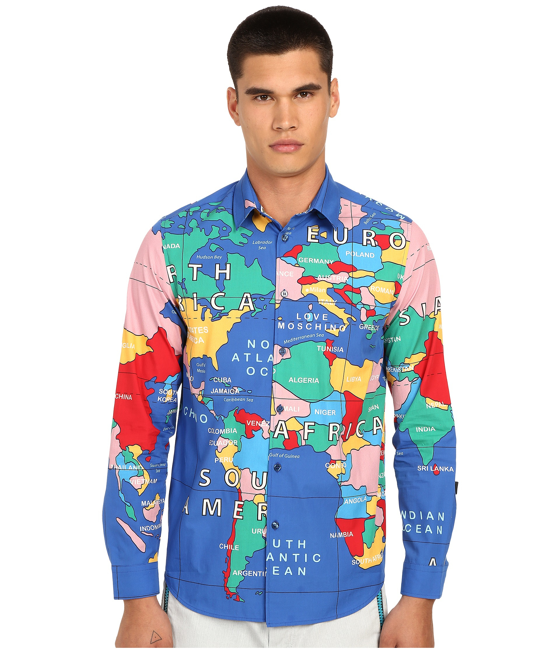 Lyst love moschino world map shirt for men for Best dress shirts in the world