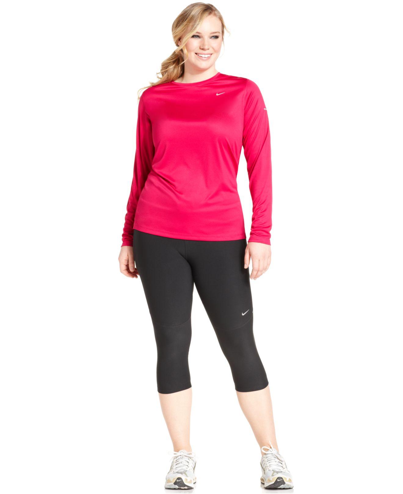 nike plus size dri-fit active capri leggings in black   lyst