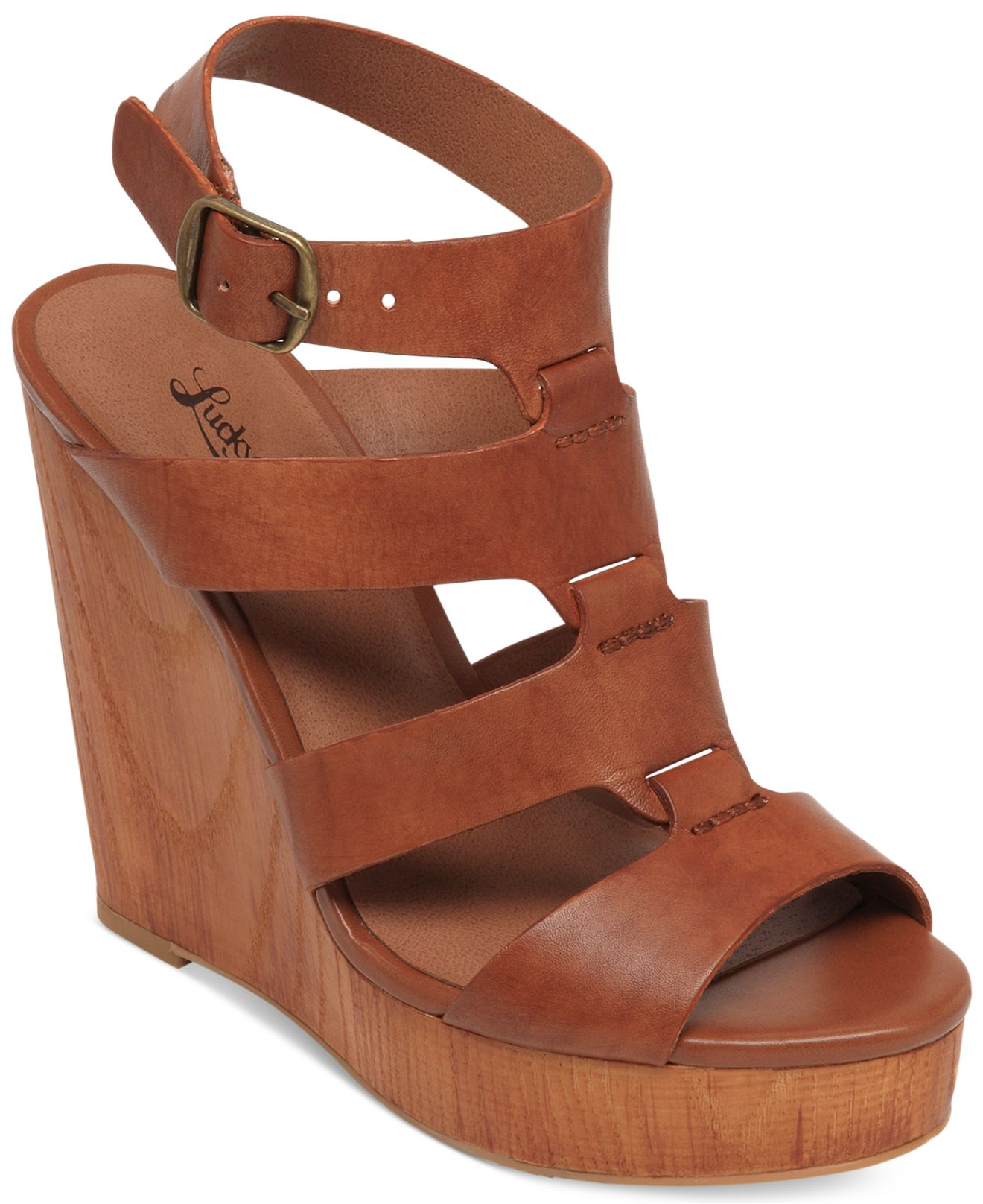 c366ad97b50d Lyst - Lucky Brand Women S Roselyn Platform Wedge Sandals in Brown