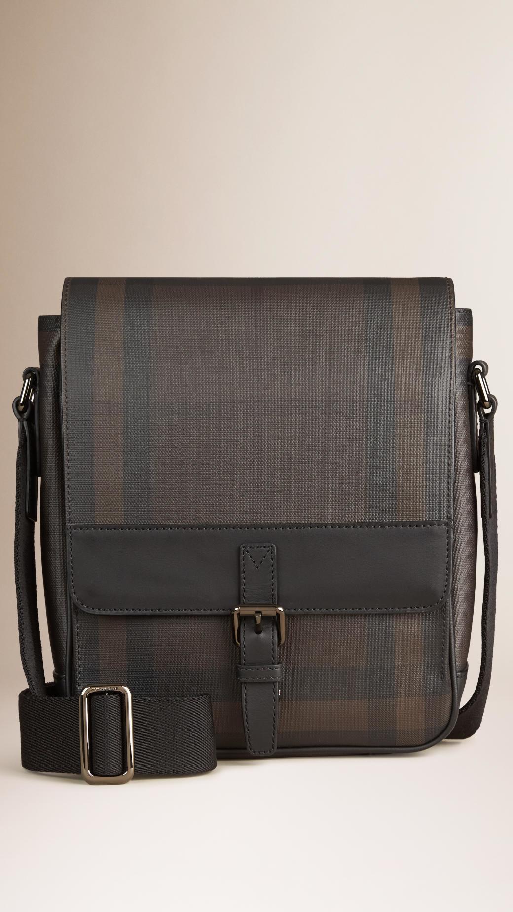 da545e58ee17 Lyst - Burberry Smoked Check Crossbody Bag in Black for Men