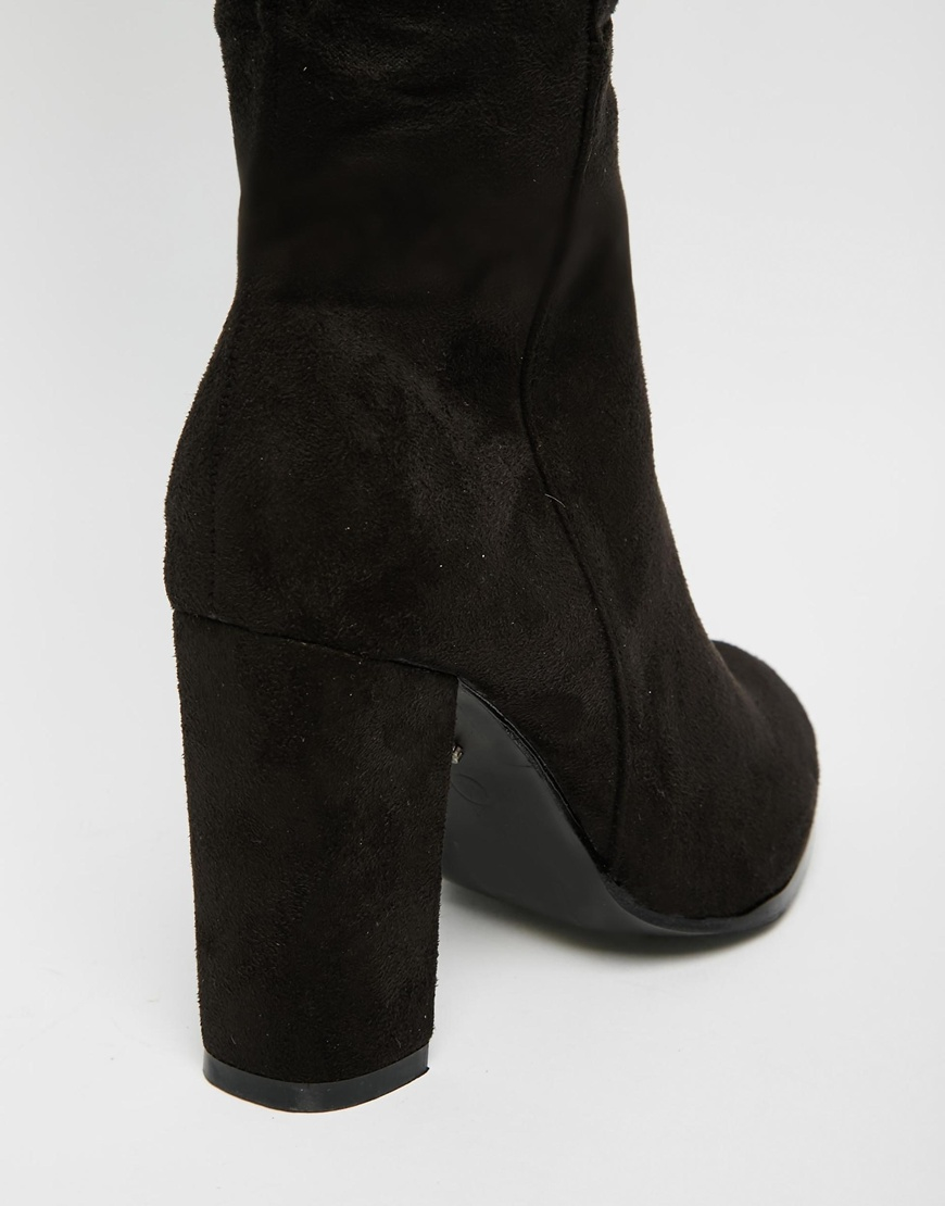 c0e1dd35456a Lyst - Daisy Street Black Block Heel Over The Knee Boots in Black