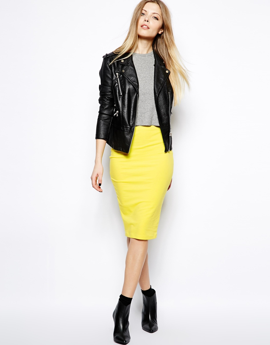 Asos Pencil Skirt in Jersey in Yellow | Lyst