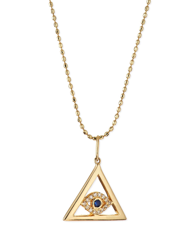 sydney evan 14k gold evil eye pyramid pendant necklace in