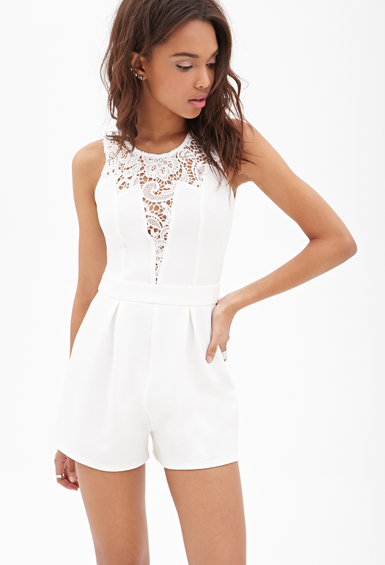 5fdafe4dbf29 Lyst forever lacepaneled ribbed romper in white jpg 750x1101 Forever 21  rompers