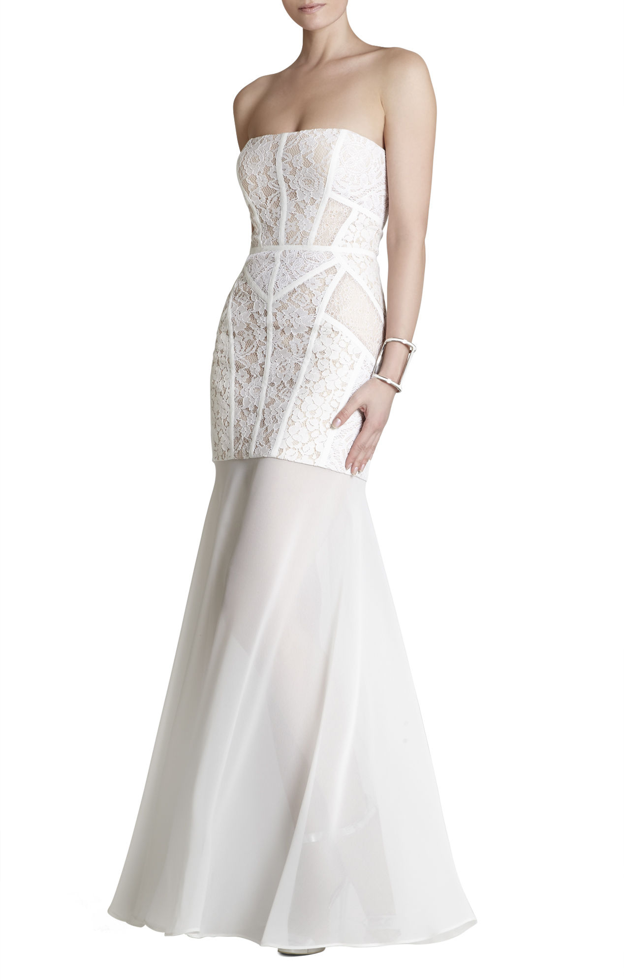 Lyst bcbgmaxazria vivienne lace blocked strapless dress in white gallery junglespirit Images