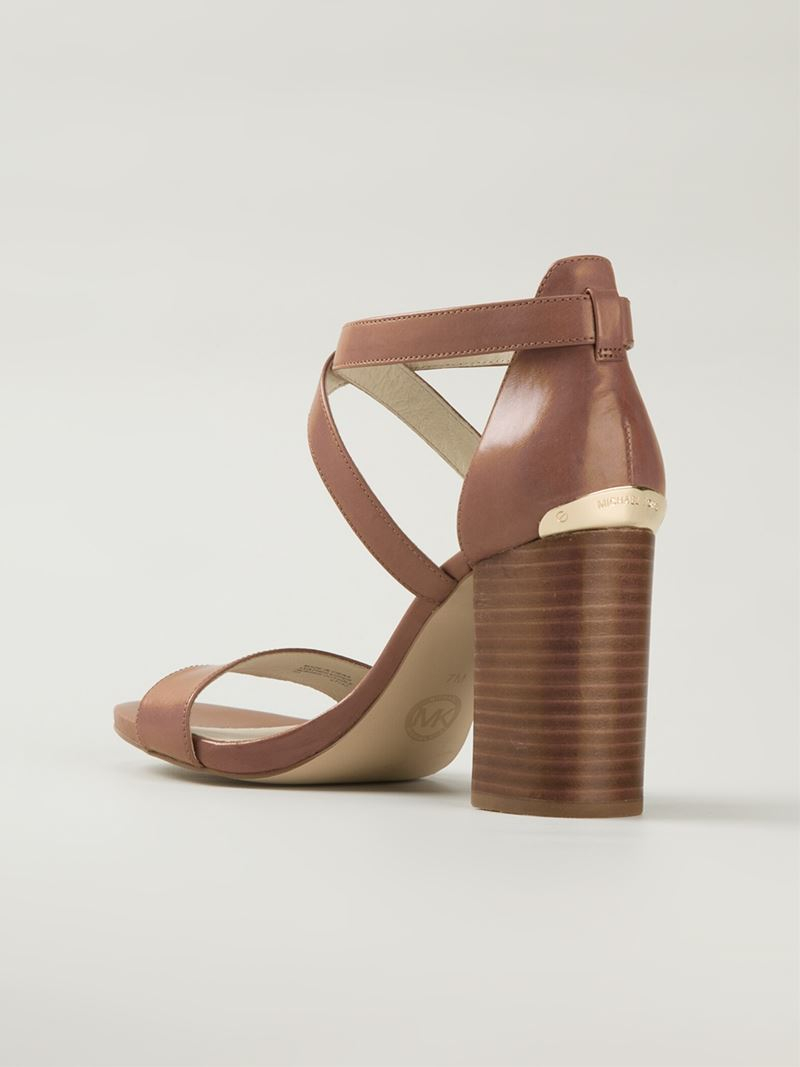Lyst - MICHAEL Michael Kors Chunky Heel Sandals in Brown