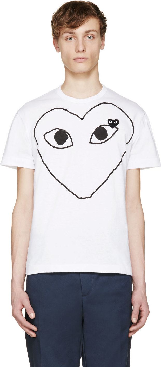 Play Comme Des Gar Ons White Heart Logo T Shirt In White