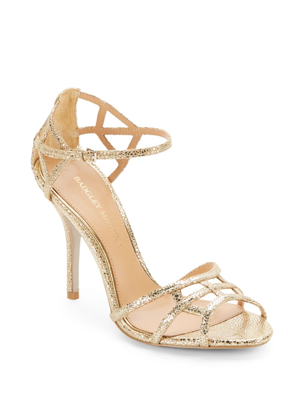 Lyst - Badgley mischka Kerrington Metallic Leather Strappy Sandals ...