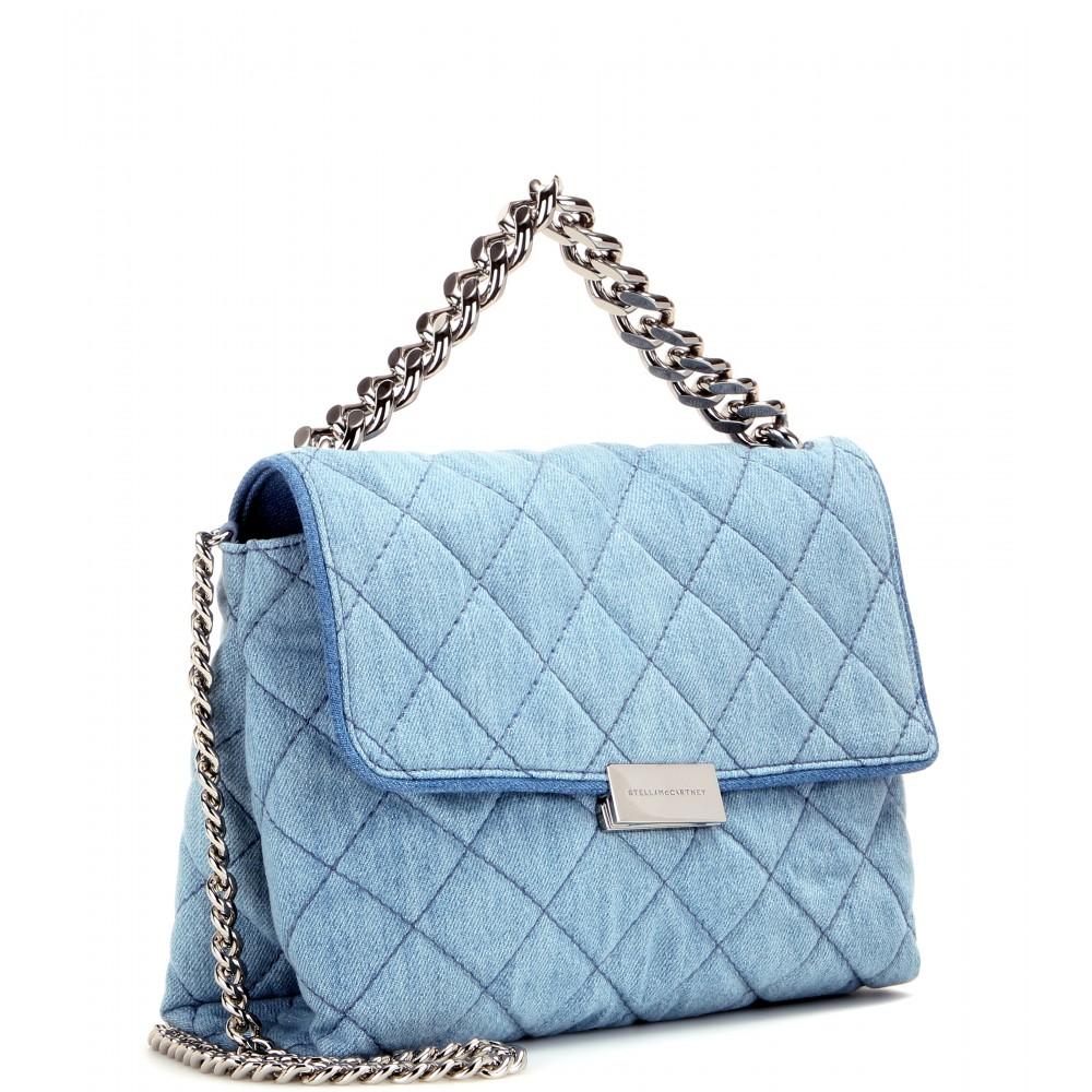 Lyst - Stella McCartney Soft Beckett Quilted-Denim Shoulder Bag in Blue 43abf8449712d