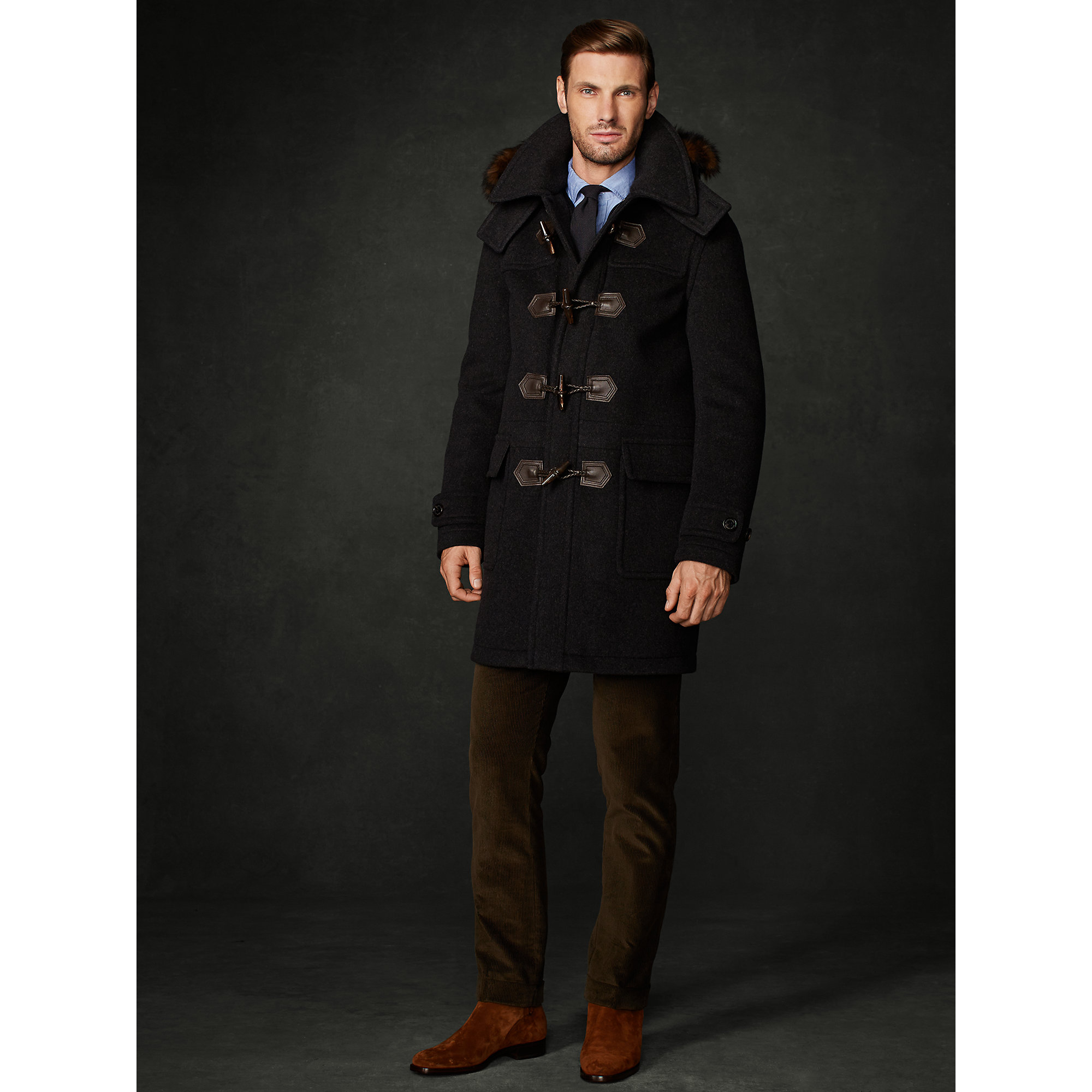 Lyst - Ralph Lauren Purple Label Wool Duffel Coat in Gray for Men