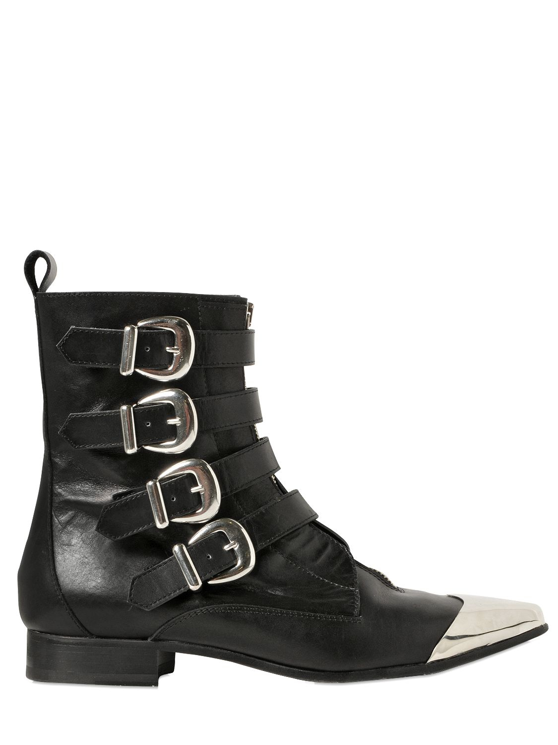 Diesel black gold 25mm Metal Toe Leather Boots in Black | Lyst