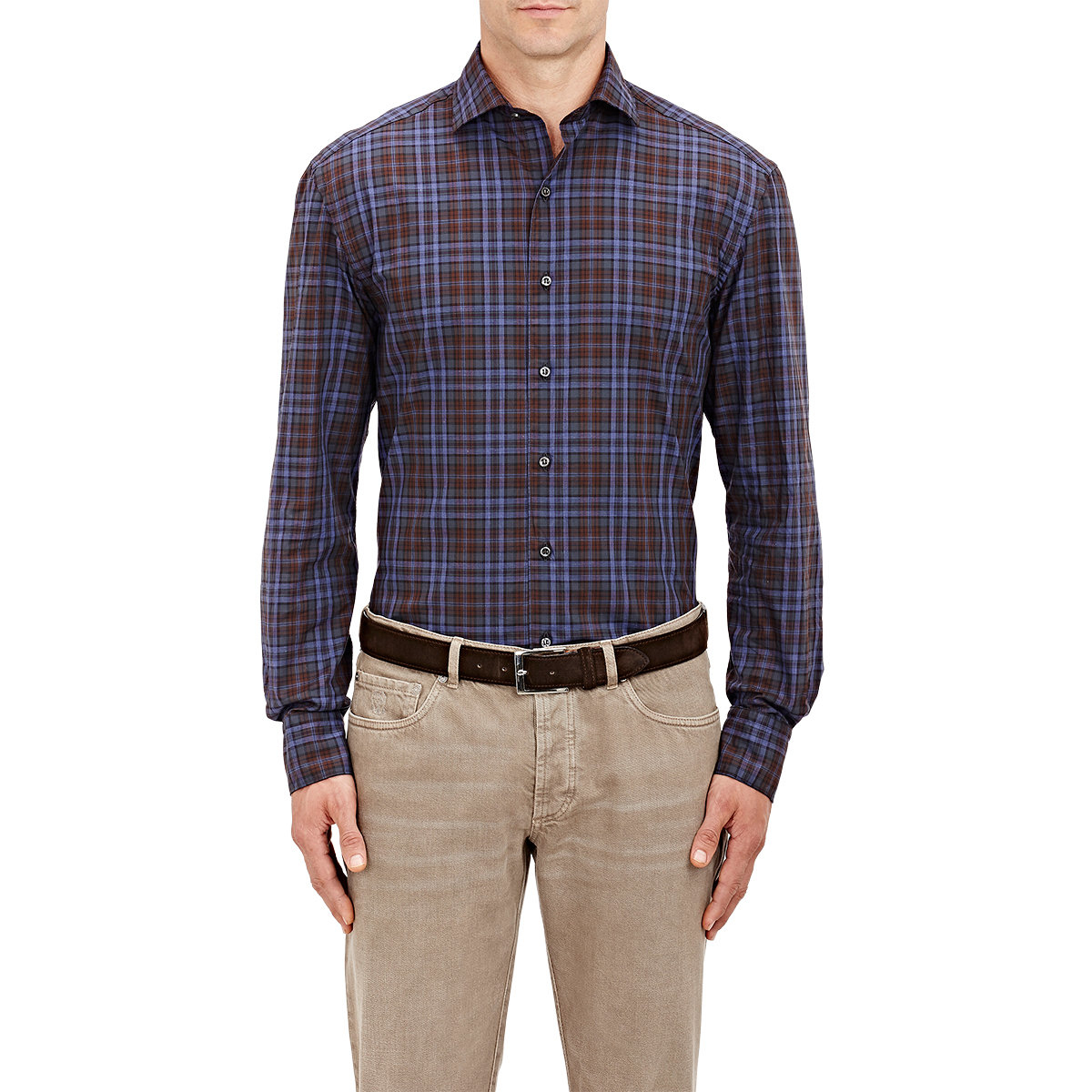 Lyst barneys new york men 39 s plaid dress shirt in blue for New york and company dress shirts