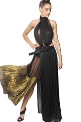 Haider Ackermann Silk Mesh Lurex Pleated Dress - Lyst