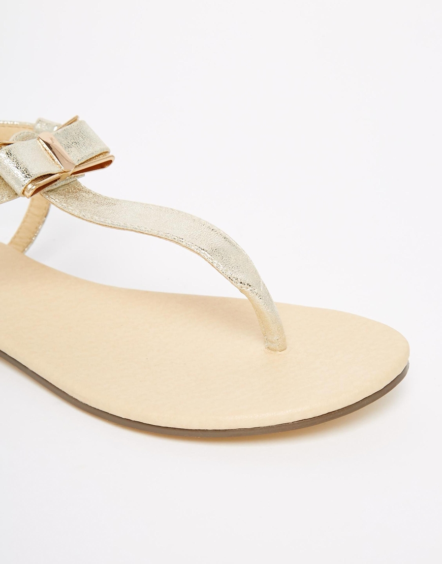 751f6dd48d0e Lyst - Oasis Asis Bow Front Flat Sandals in Metallic
