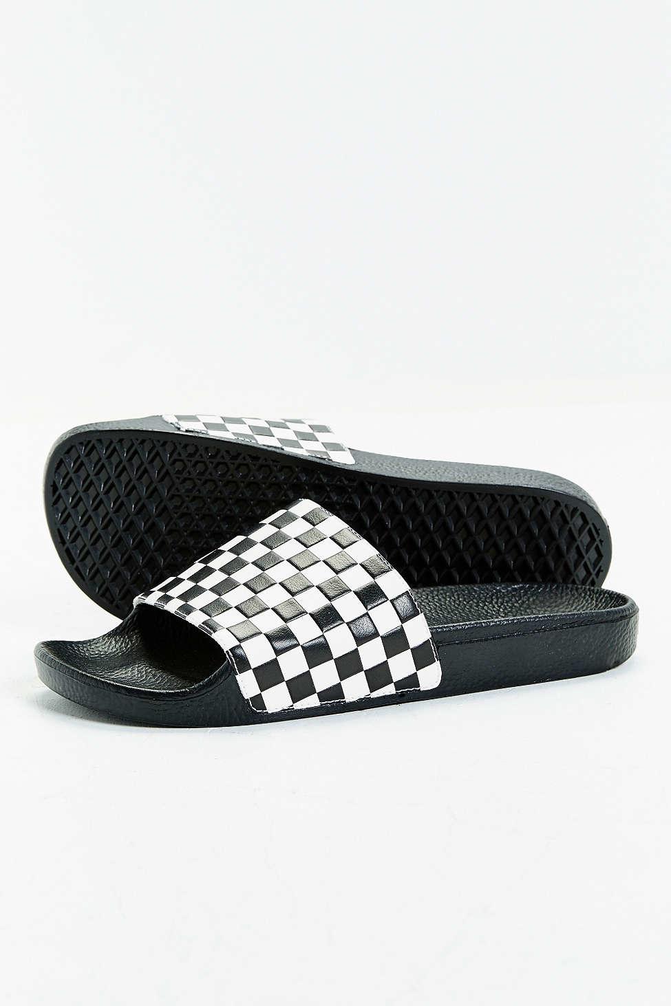 c025de195fec Lyst - Vans Slide-on Checkerboard Sandal in White for Men