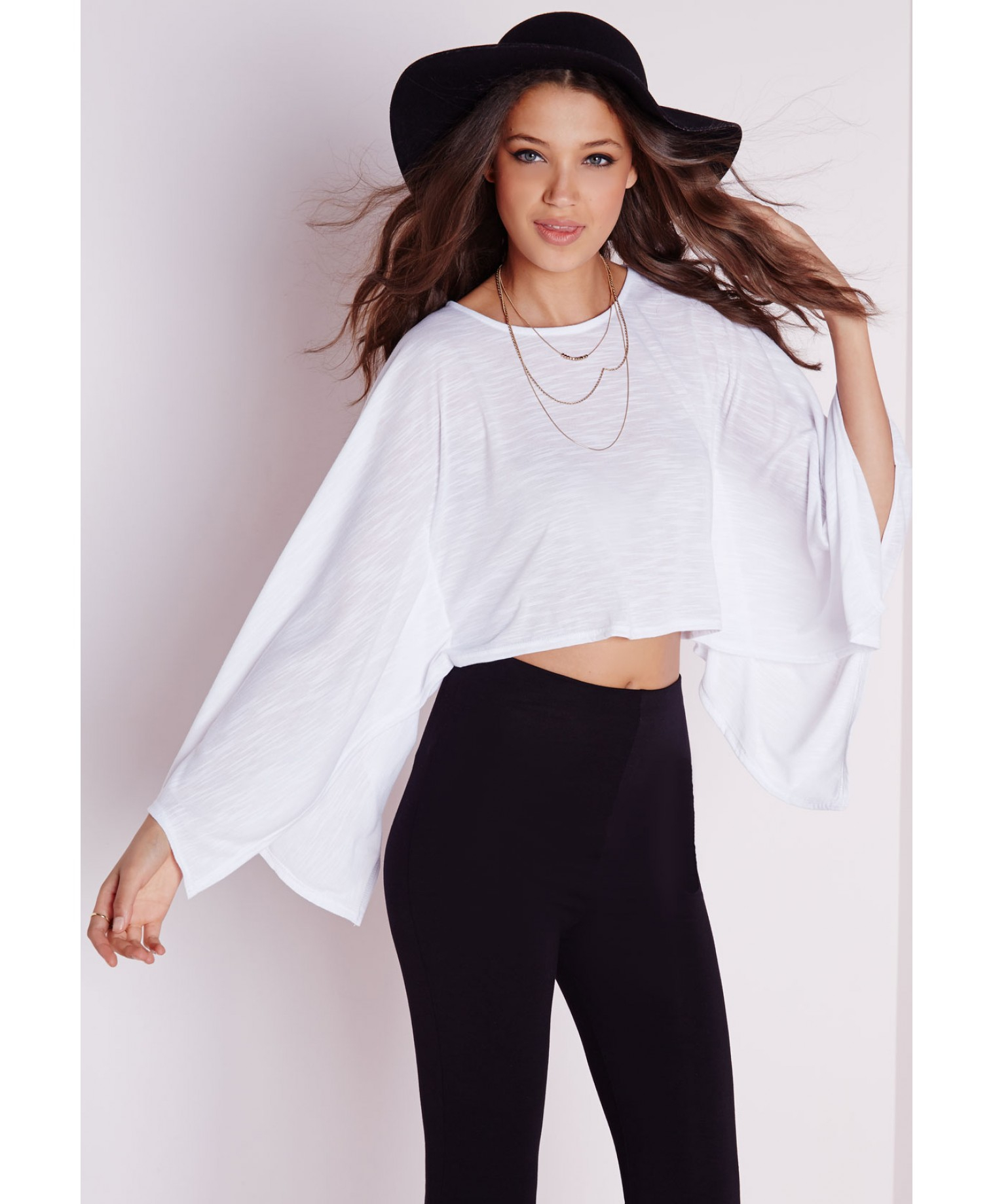20cab1e204a60 Lyst - Missguided Batwing Crop Top White in White