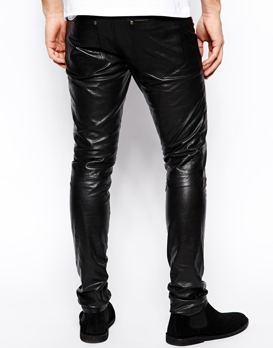 Selected Leather Trousers In Black For Men Lyst