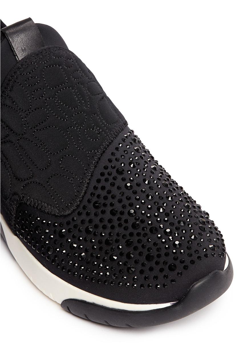 6085b73b8968c Lyst - Ash  saturn  Crystal Patchwork Neoprene Slip-on Sneakers in Black