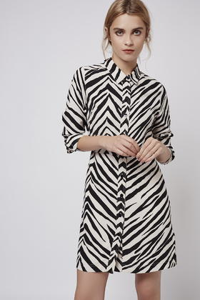 Topshop Petite Zebra Print Shirt Dress | Lyst