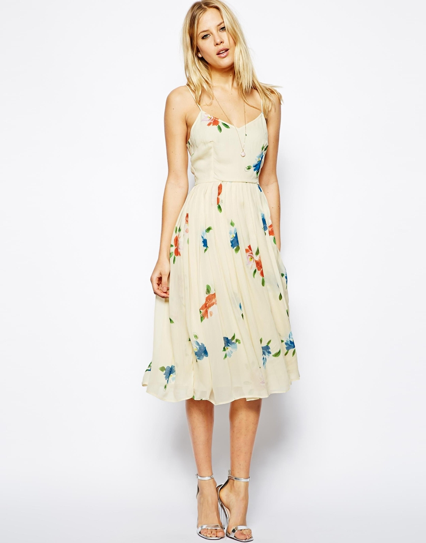 Lyst - ASOS Midi Dress With Pleated Skirt In Floral Print ...