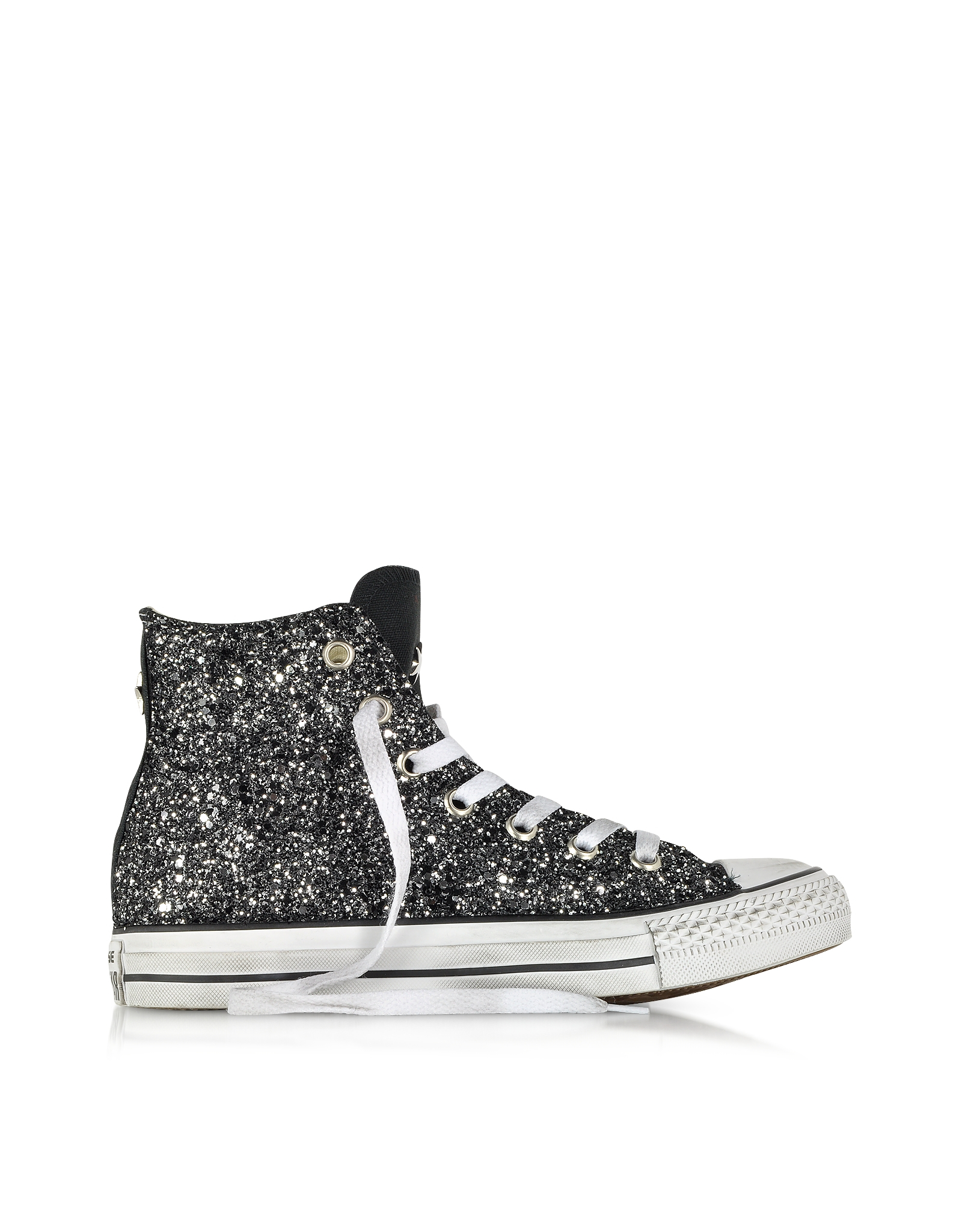 Lyst converse all star hi black canvas silver glitter ltd jpg 1600x2050 Black  sparkle high top 75ed51034