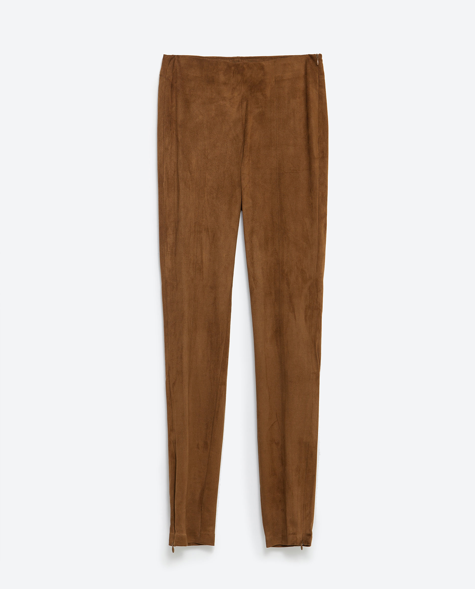 Zara Faux Suede Leggings in Brown