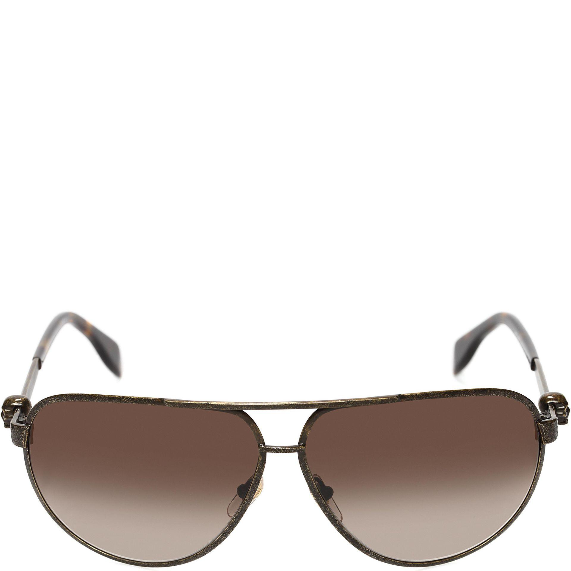 56d532f2bed Lyst - Alexander McQueen Metallic Skull Pilot Sunglasses in Brown ...